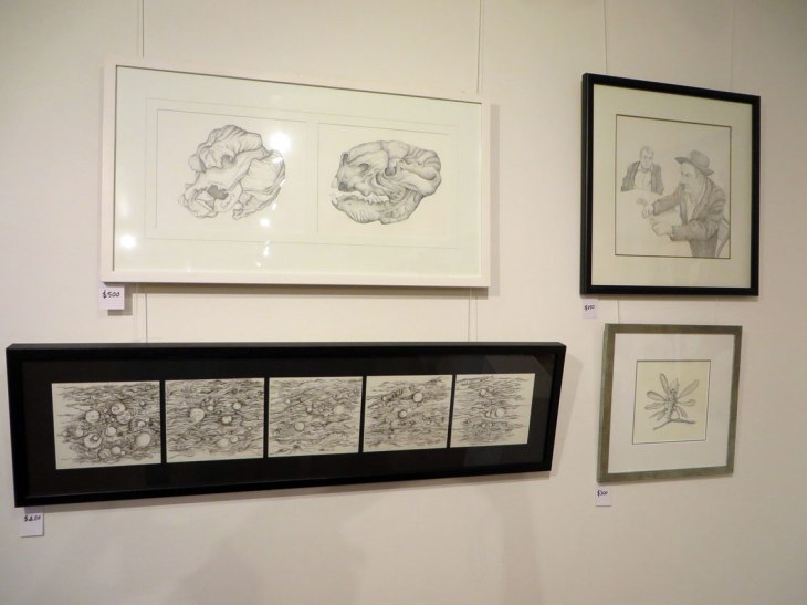 Three pencil drawings, one pen and ink